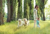 pic of dog park  - Young mother with toddler and dog  - JPG