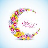 pic of moon-flower  - Colorful flowers decorated crescent moon on blue background for the occasion of Muslim community festival Eid Mubarak celebrations - JPG