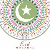 stock photo of eid card  - Beautiful floral design with crescent moon and star decorated greeting card design for the Muslim community festival Eid Mubarak celebrations - JPG