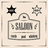 image of colt  - Illustration of saloon sign with two sheriff star badges - JPG