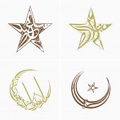 stock photo of crescent-shaped  - Arabic Islamic calligraphic set of text Eid Mubarak in crescent moon and star shape - JPG