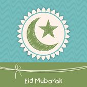 picture of crescent  - Muslim community festival greeting card design with green crescent moon and star for the festival of Eid Mubarak celebrations - JPG