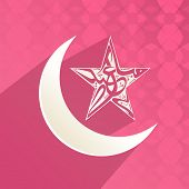 stock photo of crescent-shaped  - Arabic islamic calligraphy of text Eid Mubarak in star shape with crescent moon on pink background - JPG