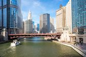 stock photo of willy  - City of Chicago downtown and River with bridges - JPG