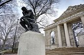 stock photo of chateau  - The Thinker by Rodin at the Philadelphia Museum of Art - JPG