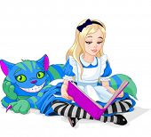 Постер, плакат: Wonderland Alice reading a book and Cheshire Cat