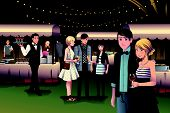 picture of night gown  - A vector illustration of young stylish people having a night party outdoor - JPG