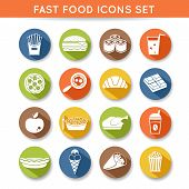 pic of spaghetti  - Fast food icons flat set of pizza chocolate apple spaghetti isolated vector illustration - JPG