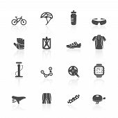 picture of bottle water  - Bicycle bike sport fitness flat icons set with water bottle helmet clothes isolated vector illustration - JPG