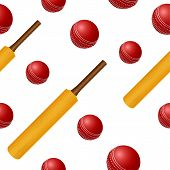 stock photo of cricket bat  - Vector cricket ball bat seamless backgroung - JPG