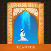 foto of namaz  - Beautiful greeting card design for Muslim community festival Eid Mubarak celebrations - JPG