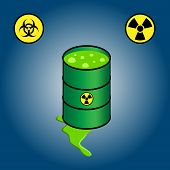 stock photo of radioactive  - Cartoon illustration of green barrel leaking toxic nuclear waste - JPG