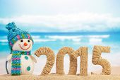stock photo of caribbean  - New year 2015 sign on the beach - JPG