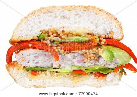 Turkey burgers with avocado. Isolated on white