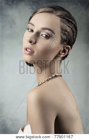 Fashion Lady With Creative Plait Hairdo