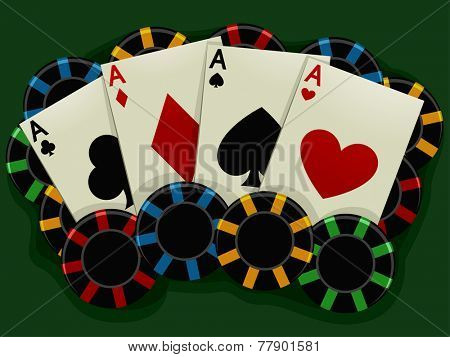 Illustration of Aces Surrounded by Poker Chips