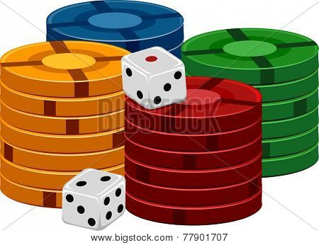 Illustration of a Pair of Dice Sitting Side by Side With Stacks of Poker Chips
