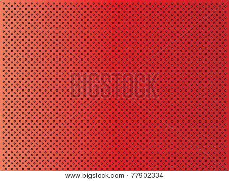 Concept conceptual red abstract metal stainless steel aluminum perforated pattern texture mesh background as metaphor to industrial, abstract, technology, grid, silver, grate, spot, grille surface