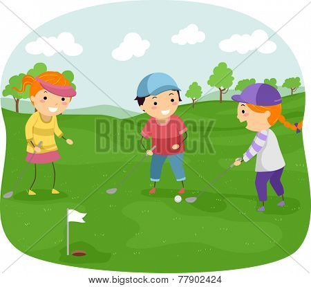 Illustration of Kids in a Golf Course Playing Golf