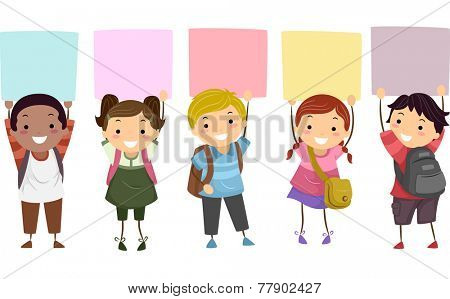 Illustration of Kids Holding Colorful Boards  Above Their Heads