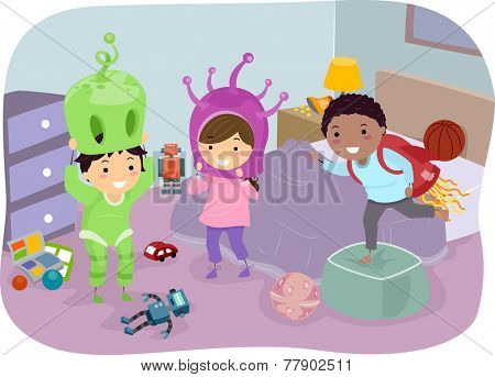 Illustration of Kids Trying Alien Costumes On