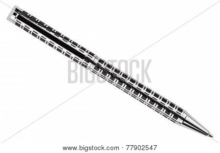 Silver Pen Isolated On A White Background