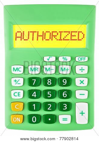 Calculator With Authorized On Display