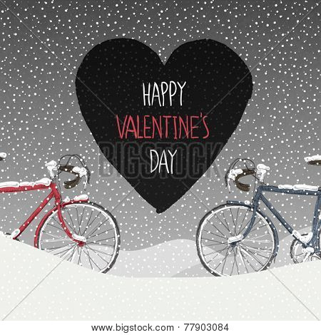 Valentines Card. Snow Covered Bicycles, Calm Winter Scene