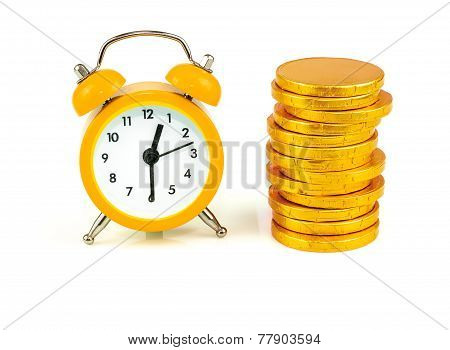 Time Is Money Clock with coins