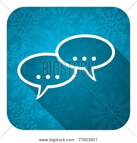 forum flat icon, christmas button, chat symbol, bubble sign