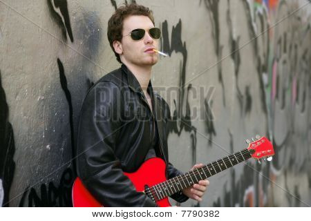 Smoking Cigarette Rock Leather Boy Playing Guitar
