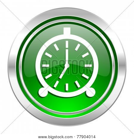 alarm icon, green button, alarm clock sign