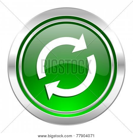 reload icon, green button, refresh sign