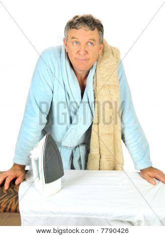 Man Contemplating Ironing