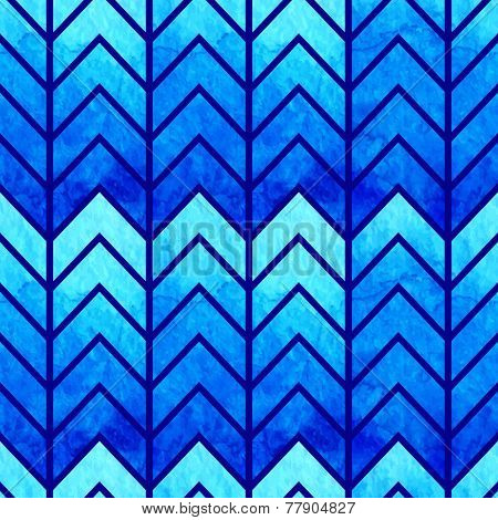 Abstract seamless geometric watercolor chevron pattern on paper