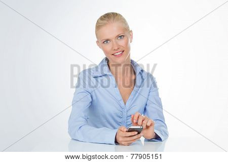 Woman Rests On Table On White Background