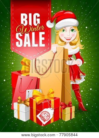 Cute cheerful cartoon girl in the Christmas costume with a many gifts. Advertisement for sale. Vector illustration.