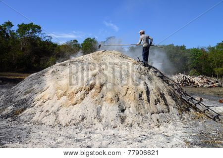 Charcoal maker in Matanzas Province, Cuba