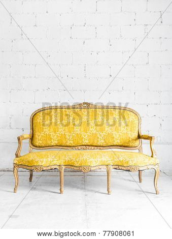 Yellow classical style Armchair sofa couch in vintage room