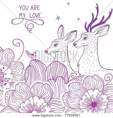 Deer and flower