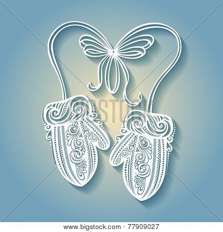 Beautiful Ornate Winter Mittens (Vector)