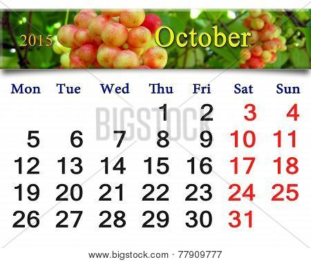 Calendar For October Of 2015 With Red Schisandra
