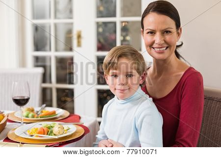 Portrait of mother with her son sitting on lap at home in the living room