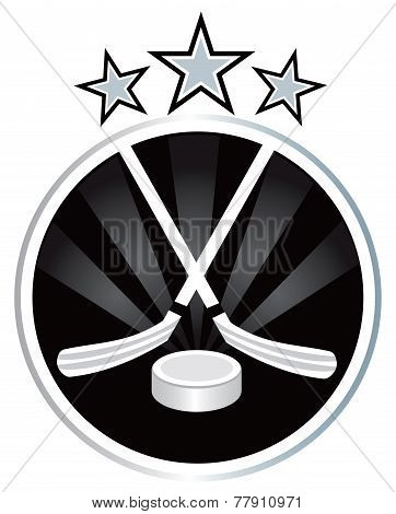 Ice hockey Black and silver emblem design