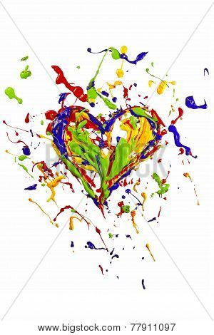 Colorful Liquid Paint Splash Made Heart