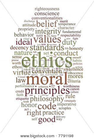 Ethik und Grundsätze-Wort-Wolke
