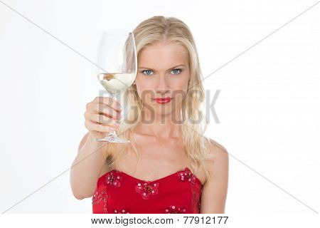 Serious Nordic Girl Having A Toast With A Glass Of Wine