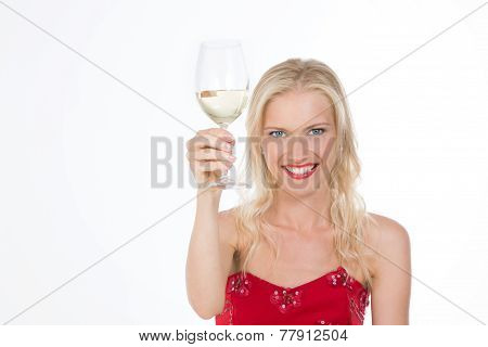 Beaming Nordic Girl Having A Toast