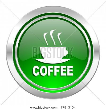 espresso icon, green button, hot cup of caffee sign