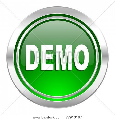 demo icon, green button